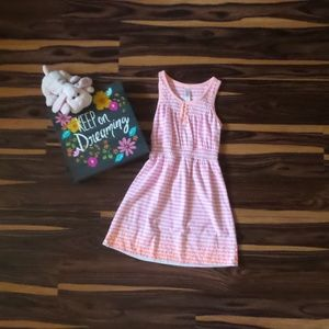4/$12 Girls Pink/White Striped Dress w/Sequins Sz6